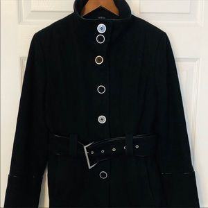 Jones New York Pea Coat belted button up